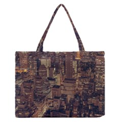 New York City Skyline Nyc Zipper Medium Tote Bag by Simbadda