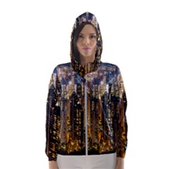 Panorama Urban Landscape Town Center Hooded Wind Breaker (women)
