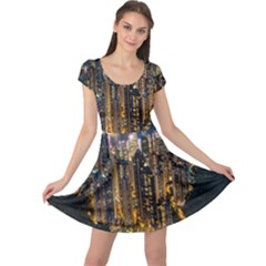 Panorama Urban Landscape Town Center Cap Sleeve Dress