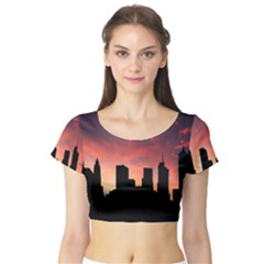 Skyline Panoramic City Architecture Short Sleeve Crop Top