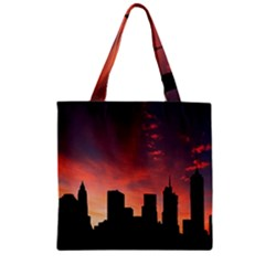 Skyline Panoramic City Architecture Zipper Grocery Tote Bag