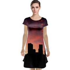 Skyline Panoramic City Architecture Cap Sleeve Nightdress