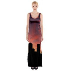 Skyline Panoramic City Architecture Maxi Thigh Split Dress