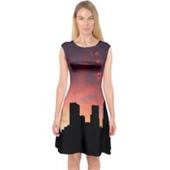 Skyline Panoramic City Architecture Capsleeve Midi Dress