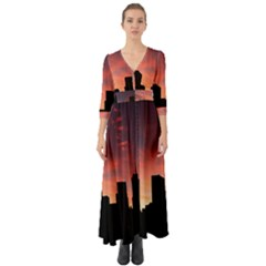 Skyline Panoramic City Architecture Button Up Boho Maxi Dress