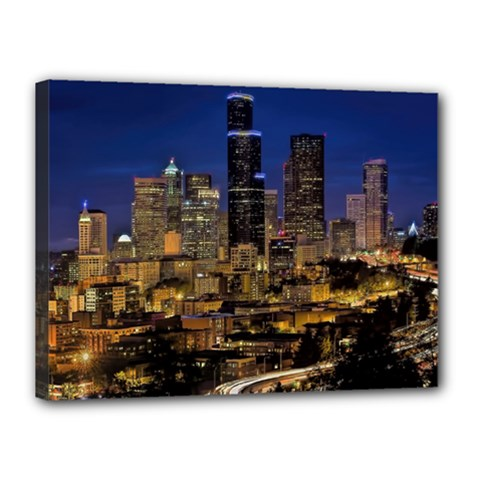 Skyline Downtown Seattle Cityscape Canvas 16  X 12  by Simbadda