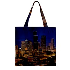 Skyline Downtown Seattle Cityscape Zipper Grocery Tote Bag