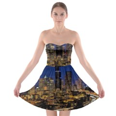 Skyline Downtown Seattle Cityscape Strapless Bra Top Dress