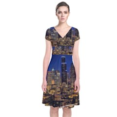 Skyline Downtown Seattle Cityscape Short Sleeve Front Wrap Dress