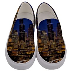Skyline Downtown Seattle Cityscape Men s Canvas Slip Ons