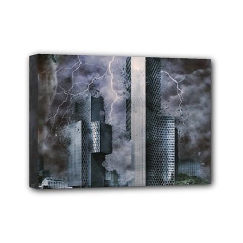 Digital Art City Cities Urban Mini Canvas 7  X 5