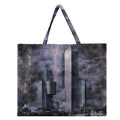 Digital Art City Cities Urban Zipper Large Tote Bag