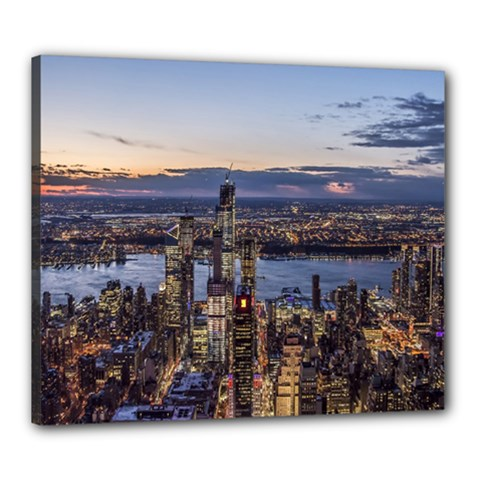 Panoramic City Water Travel Canvas 24  X 20