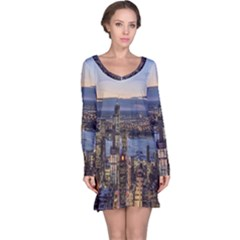 Panoramic City Water Travel Long Sleeve Nightdress