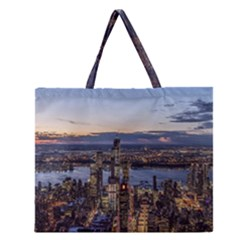 Panoramic City Water Travel Zipper Large Tote Bag