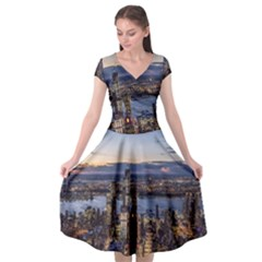 Panoramic City Water Travel Cap Sleeve Wrap Front Dress