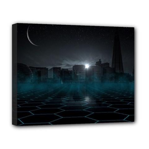 Skyline Night Star Sky Moon Sickle Deluxe Canvas 20  X 16