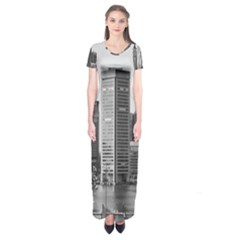 Architecture City Skyscraper Short Sleeve Maxi Dress