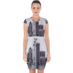 Architecture City Skyscraper Capsleeve Drawstring Dress