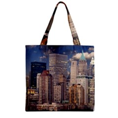 New York Skyline Manhattan Hudson Zipper Grocery Tote Bag