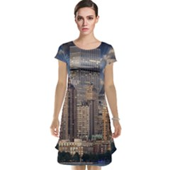 New York Skyline Manhattan Hudson Cap Sleeve Nightdress