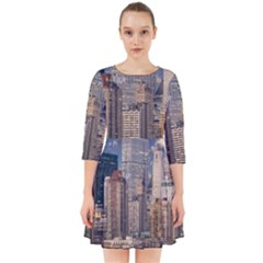 New York Skyline Manhattan Hudson Smock Dress