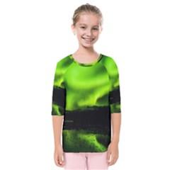 Aurora Borealis Northern Lights Sky Kids  Quarter Sleeve Raglan Tee
