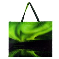 Aurora Borealis Northern Lights Sky Zipper Large Tote Bag