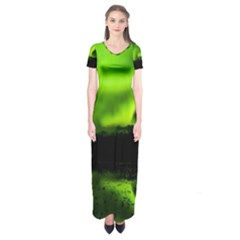 Aurora Borealis Northern Lights Sky Short Sleeve Maxi Dress