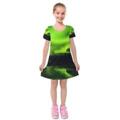 Aurora Borealis Northern Lights Sky Kids  Short Sleeve Velvet Dress
