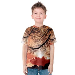 Tree Skyline Silhouette Sunset Kids  Cotton Tee