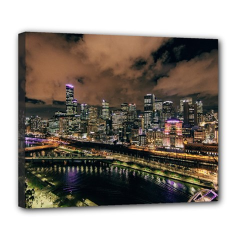 Cityscape Night Buildings Deluxe Canvas 24  X 20