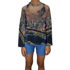 Cityscape Night Buildings Kids  Long Sleeve Swimwear