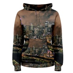 Cityscape Night Buildings Women s Pullover Hoodie
