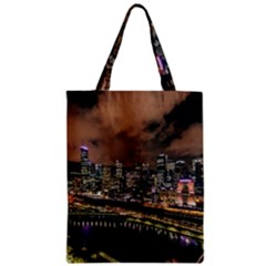 Cityscape Night Buildings Zipper Classic Tote Bag