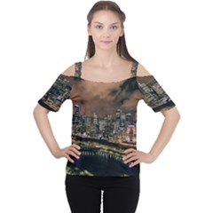Cityscape Night Buildings Cutout Shoulder Tee