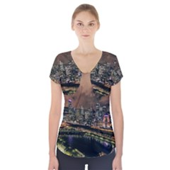 Cityscape Night Buildings Short Sleeve Front Detail Top