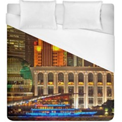 Shanghai Skyline Architecture Duvet Cover (king Size) by Simbadda