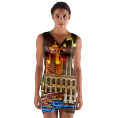 Shanghai Skyline Architecture Wrap Front Bodycon Dress