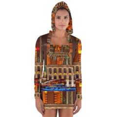 Shanghai Skyline Architecture Long Sleeve Hooded T Shirt