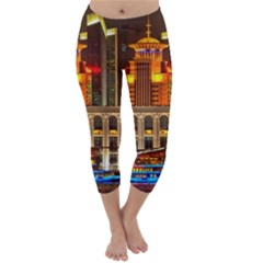 Shanghai Skyline Architecture Capri Winter Leggings