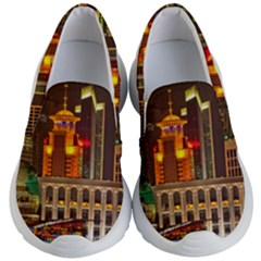 Shanghai Skyline Architecture Kid s Lightweight Slip Ons