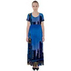 Frankfurt Germany Panorama City High Waist Short Sleeve Maxi Dress