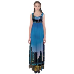 Frankfurt Germany Panorama City Empire Waist Maxi Dress