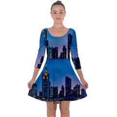 Frankfurt Germany Panorama City Quarter Sleeve Skater Dress