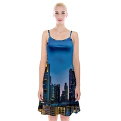 Frankfurt Germany Panorama City Spaghetti Strap Velvet Dress
