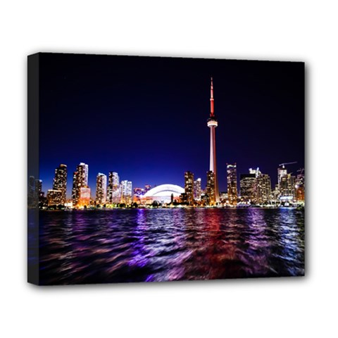 Toronto City Cn Tower Skydome Deluxe Canvas 20  X 16