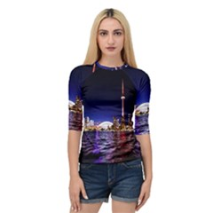 Toronto City Cn Tower Skydome Quarter Sleeve Raglan Tee