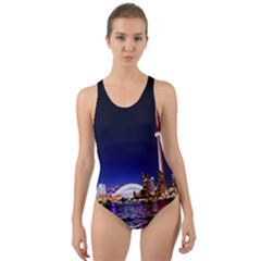 Toronto City Cn Tower Skydome Cut Out Back One Piece Swimsuit
