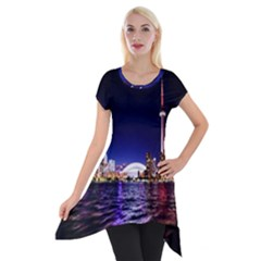 Toronto City Cn Tower Skydome Short Sleeve Side Drop Tunic